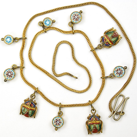 Victorian Gold and Italian Micromosaic Rosettes and Scarabs Necklace