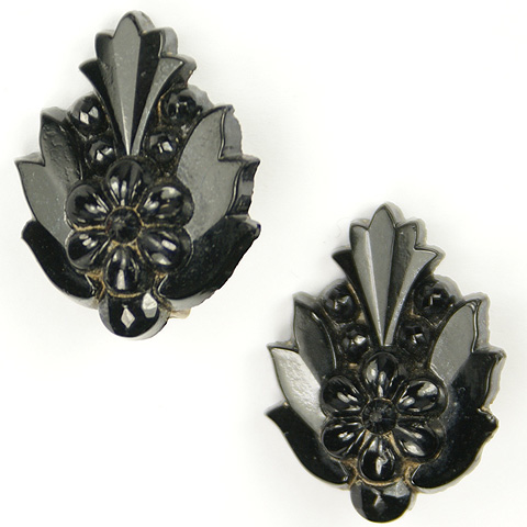 Victorian French Jet Leaves and Flowers Clip Earrings